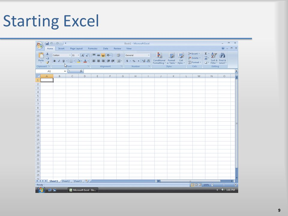 Starting Excel 9