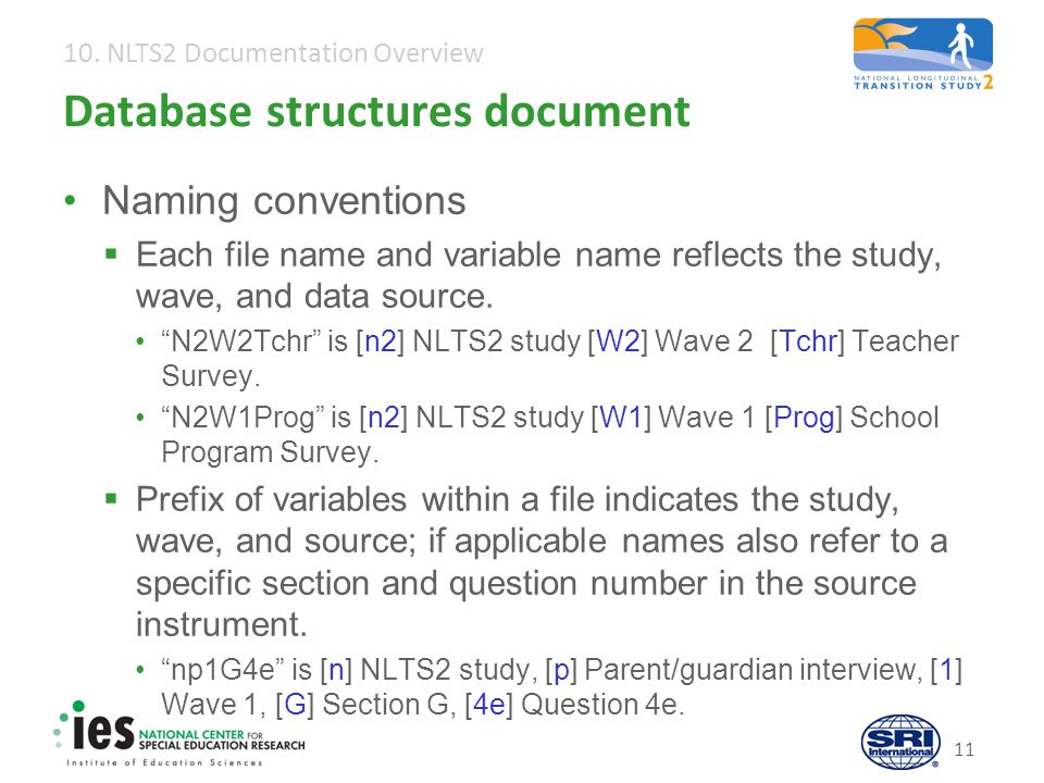10. NLTS2 Documentation Overview 11 Database structures document Naming conventions  Each file name and variable name reflects the study, wave, and d