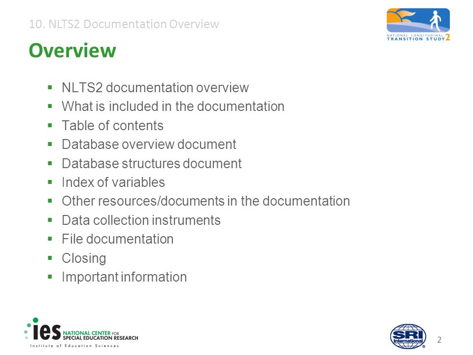 10. NLTS2 Documentation Overview 13 Index of variables: Example
