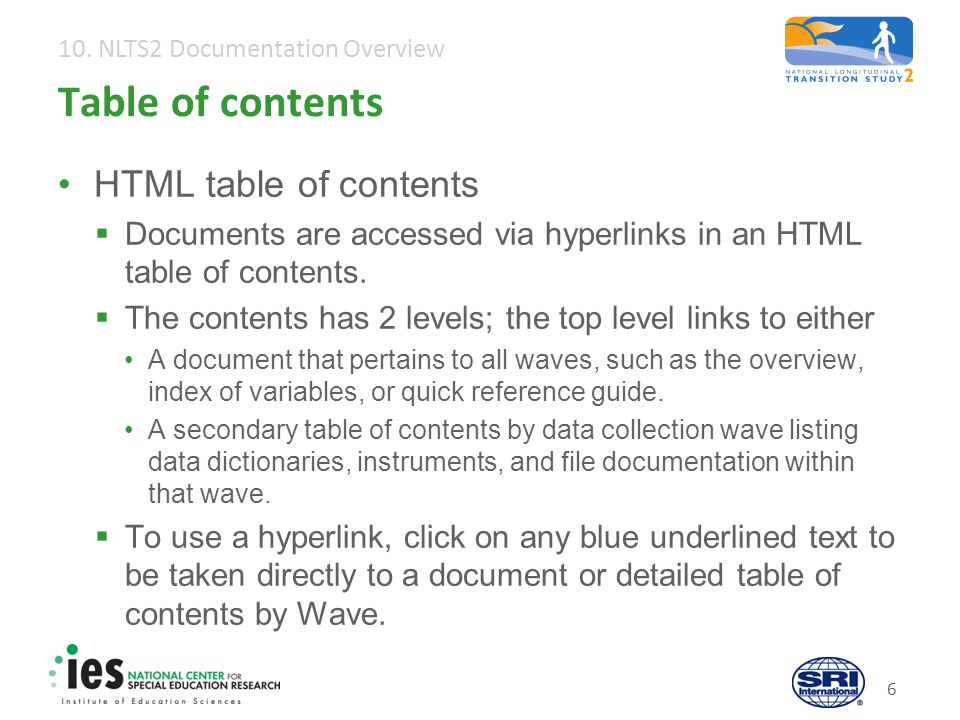 10. NLTS2 Documentation Overview 7 Table of contents