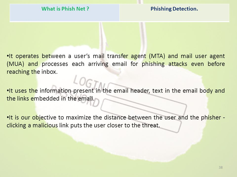 It operates between a user's mail transfer agent (MTA) and mail user agent (MUA) and processes each arriving email for phishing attacks even before reaching the inbox.