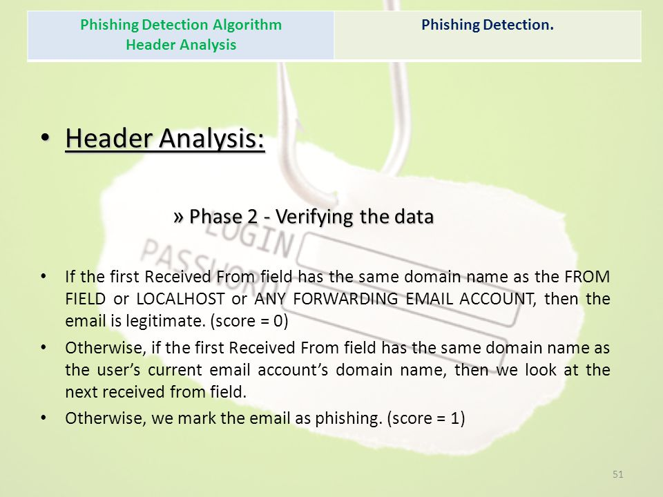 Header Analysis: Header Analysis: » Phase 2 - Verifying the data If the first Received From field has the same domain name as the FROM FIELD or LOCALH