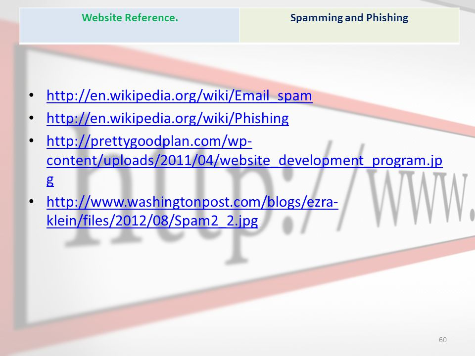 http://en.wikipedia.org/wiki/Email_spam http://en.wikipedia.org/wiki/Phishing http://prettygoodplan.com/wp- content/uploads/2011/04/website_development_program.jp g http://prettygoodplan.com/wp- content/uploads/2011/04/website_development_program.jp g http://www.washingtonpost.com/blogs/ezra- klein/files/2012/08/Spam2_2.jpg http://www.washingtonpost.com/blogs/ezra- klein/files/2012/08/Spam2_2.jpg Website Reference.Spamming and Phishing 60