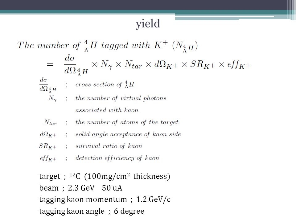 yield target ; 12 C (100mg/cm 2 thickness) beam ; 2.3 GeV 50 uA tagging kaon momentum ; 1.2 GeV/c tagging kaon angle ; 6 degree