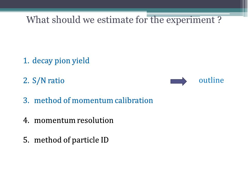 What should we estimate for the experiment ? 1.decay pion yield 2.S/N ratio 3. method of momentum calibration 4. momentum resolution 5. method of part