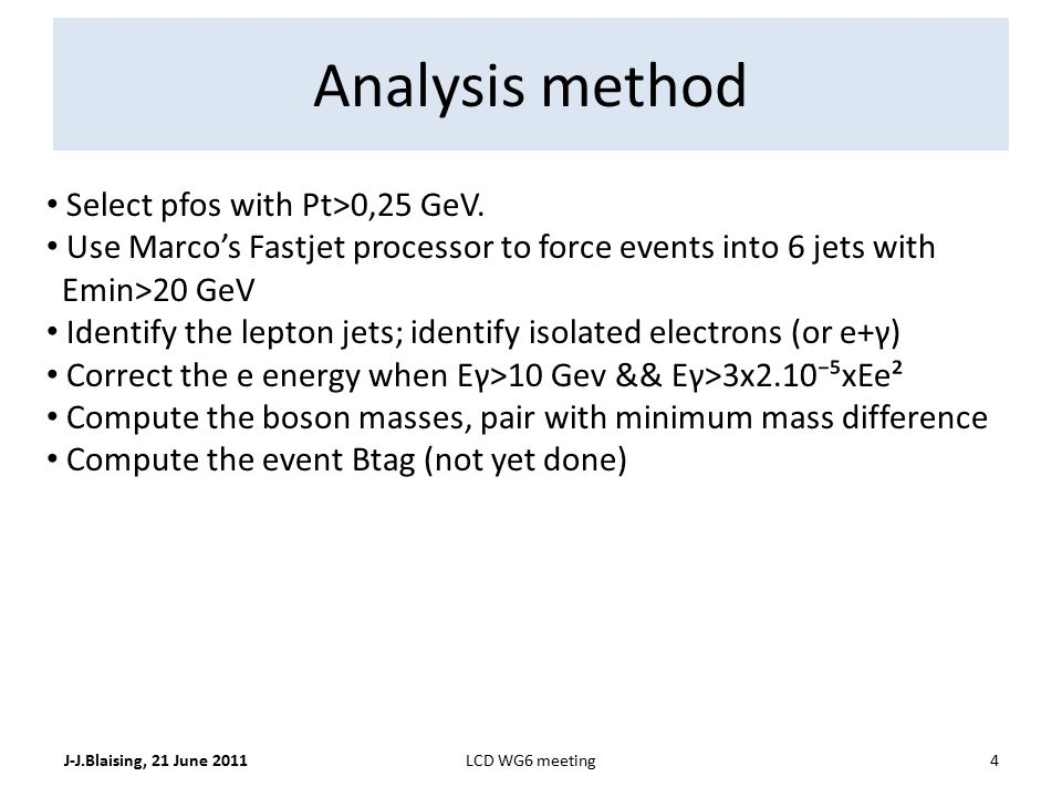Analysis method J-J.Blaising, 21 June 20114LCD WG6 meeting Select pfos with Pt>0,25 GeV.