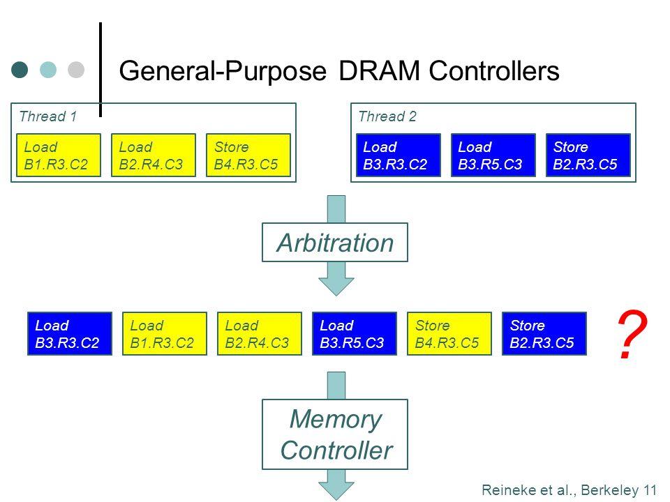 Reineke et al., Berkeley 11 Thread 2Thread 1 General-Purpose DRAM Controllers Load B1.R3.C2 Load B2.R4.C3 Store B4.R3.C5 Arbitration Memory Controller