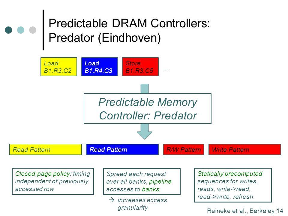 Reineke et al., Berkeley 14 Predictable DRAM Controllers: Predator (Eindhoven) Load B1.R3.C2 Load B1.R4.C3 Store B1.R3.C5 … Predictable Memory Control