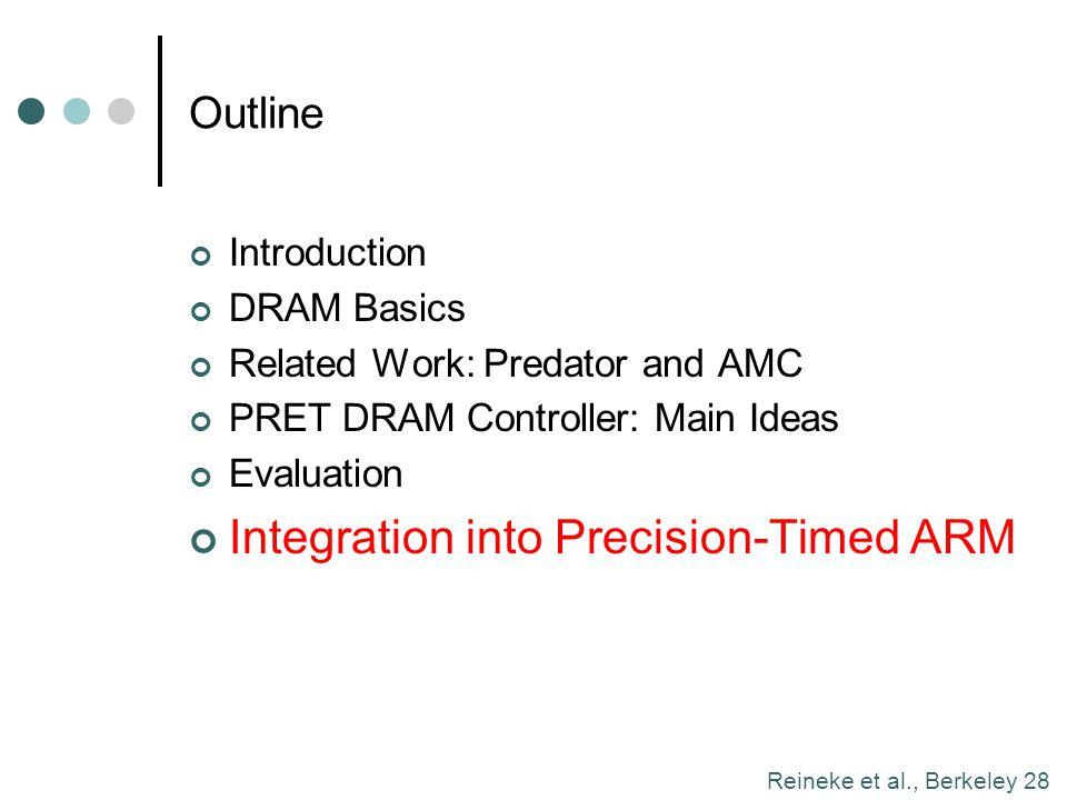 Reineke et al., Berkeley 28 Outline Introduction DRAM Basics Related Work: Predator and AMC PRET DRAM Controller: Main Ideas Evaluation Integration in