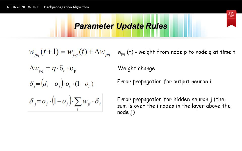 Parameter Update Rules NEURAL NETWORKS – Backpropagation Algorithm Weight change 4 w pq (t) - weight from node p to node q at time t Error propagation