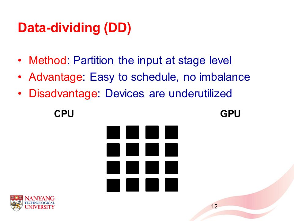 Data-dividing (DD) Method: Partition the input at stage level Advantage: Easy to schedule, no imbalance Disadvantage: Devices are underutilized 12 CPUGPU