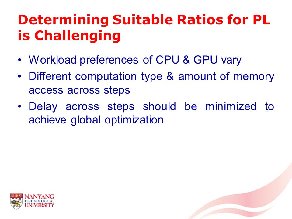 Determining Suitable Ratios for PL is Challenging Workload preferences of CPU & GPU vary Different computation type & amount of memory access across steps Delay across steps should be minimized to achieve global optimization