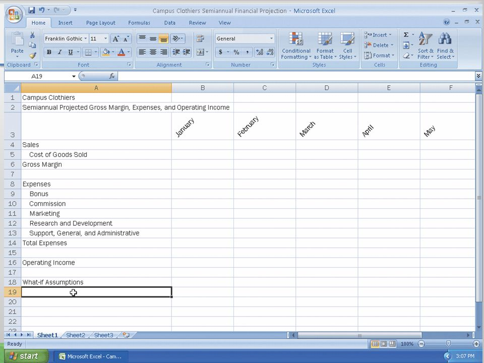 Increasing Column Widths and Entering Rows Titles 12Microsoft Office 2007: Introductory Concepts and Techniques