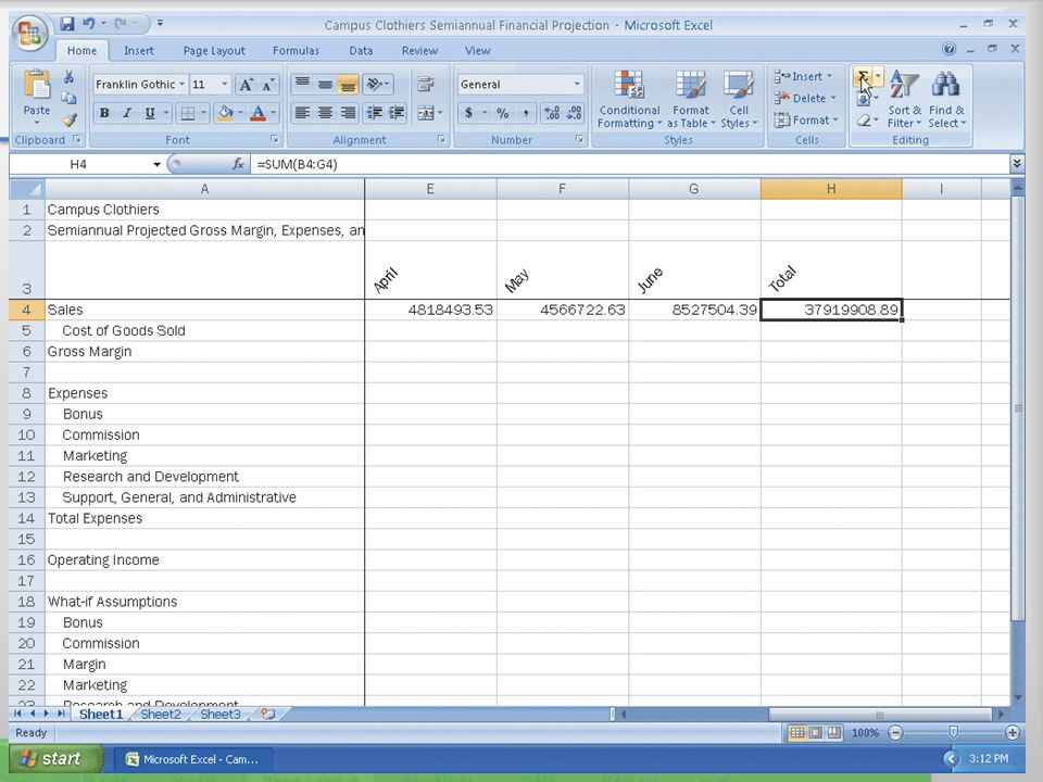 Entering the Projected Monthly Sales 23Microsoft Office 2007: Introductory Concepts and Techniques