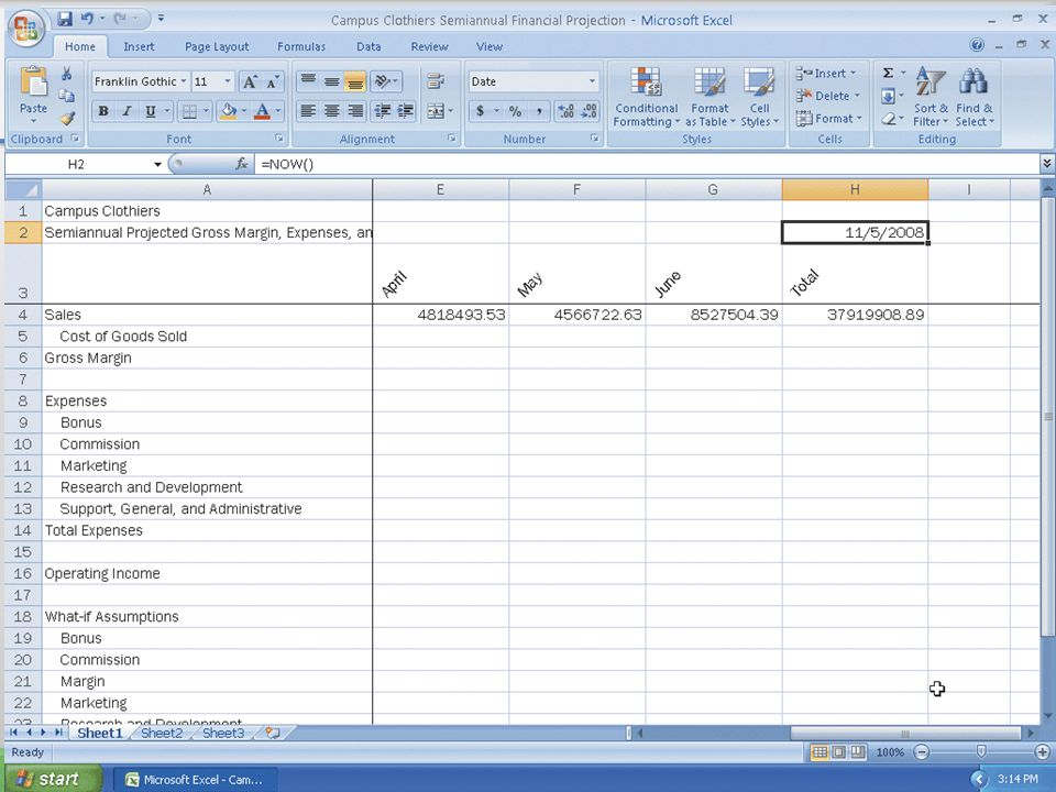 Entering and Formatting the System Date 26Microsoft Office 2007: Introductory Concepts and Techniques