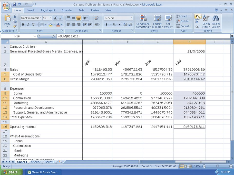 Determining Row Totals in Nonadjacent Cells 36Microsoft Office 2007: Introductory Concepts and Techniques