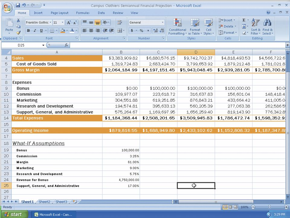 Formatting the What-If Assumptions Table and Saving the Workbook 51Microsoft Office 2007: Introductory Concepts and Techniques
