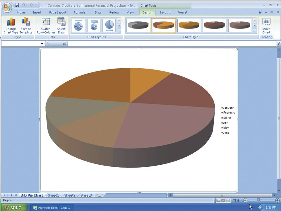 Drawing a 3-D Pie Chart on a Separate Chart Sheet 54Microsoft Office 2007: Introductory Concepts and Techniques