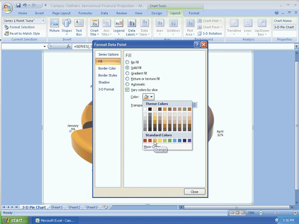 Exploding the 3-D Pie Chart and Changing the Color of the Slice 65Microsoft Office 2007: Introductory Concepts and Techniques