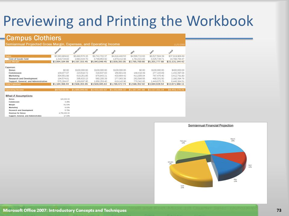 Previewing and Printing the Workbook 73Microsoft Office 2007: Introductory Concepts and Techniques