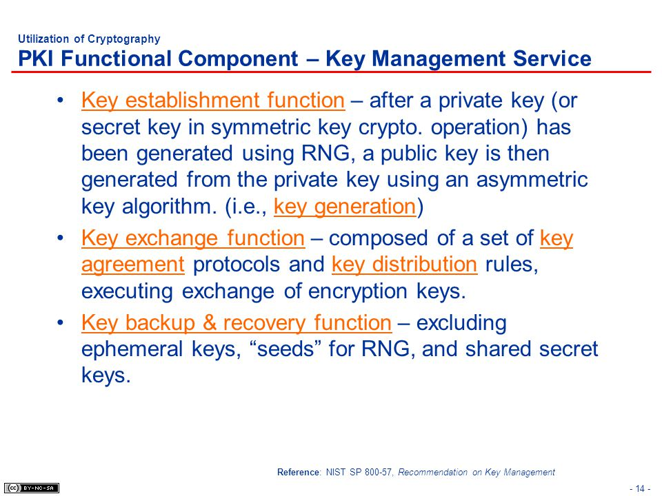 - 14 - Utilization of Cryptography PKI Functional Component – Key Management Service Key establishment function – after a private key (or secret key i