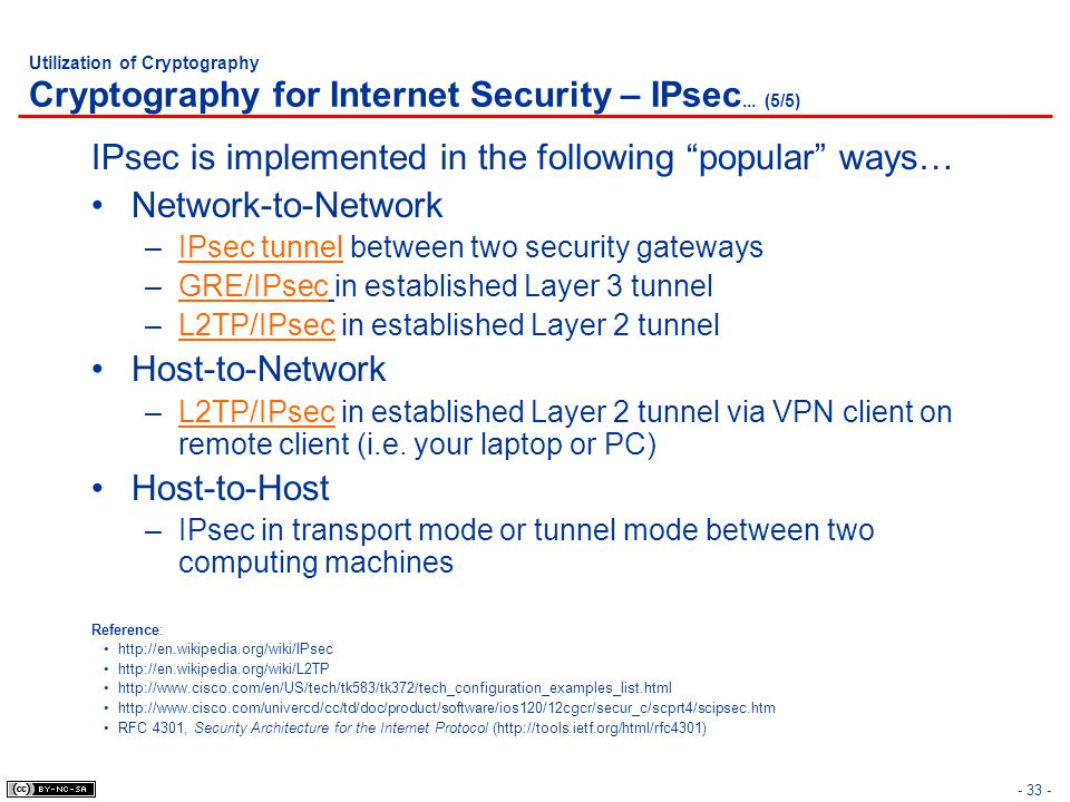 """- 33 - Utilization of Cryptography Cryptography for Internet Security – IPsec... (5/5) IPsec is implemented in the following """"popular"""" ways… Network-t"""