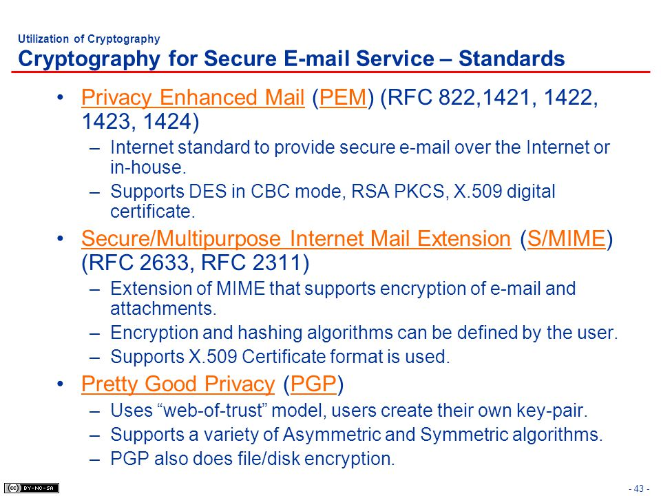 - 43 - Utilization of Cryptography Cryptography for Secure E-mail Service – Standards Privacy Enhanced Mail (PEM) (RFC 822,1421, 1422, 1423, 1424) –In