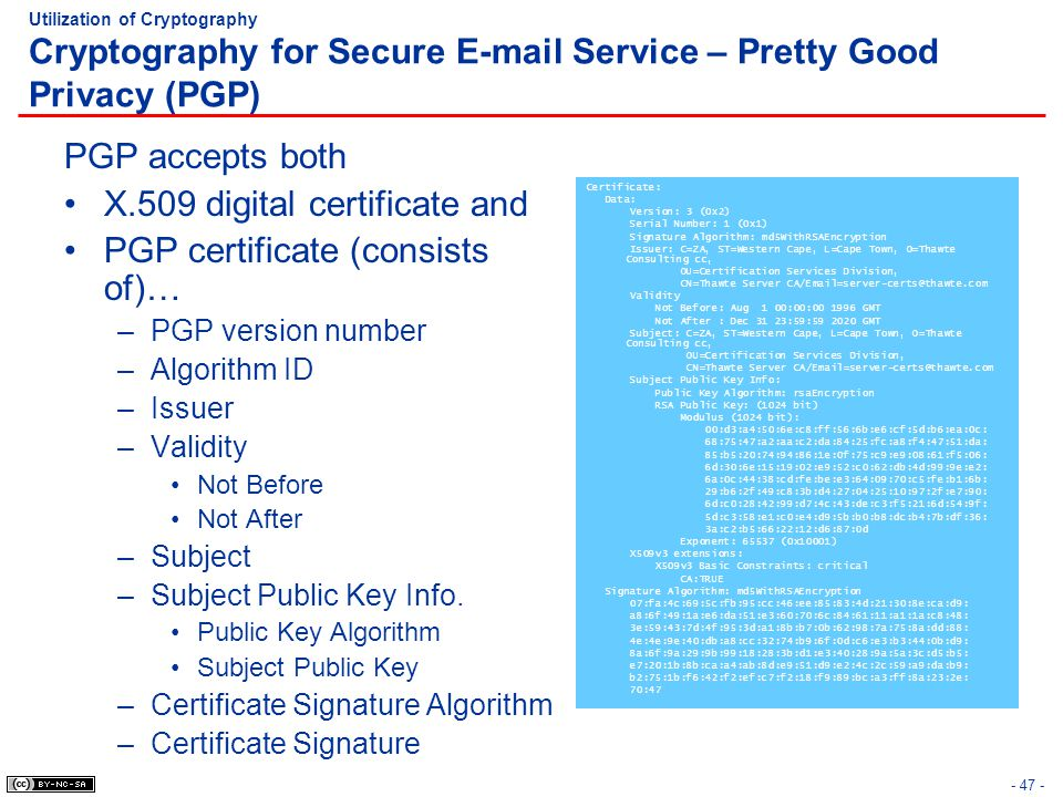 - 47 - Utilization of Cryptography Cryptography for Secure E-mail Service – Pretty Good Privacy (PGP) PGP accepts both X.509 digital certificate and P