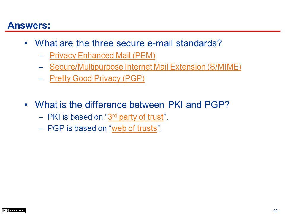 Answers: What are the three secure e-mail standards? – Privacy Enhanced Mail (PEM) – Secure/Multipurpose Internet Mail Extension (S/MIME) – Pretty Goo