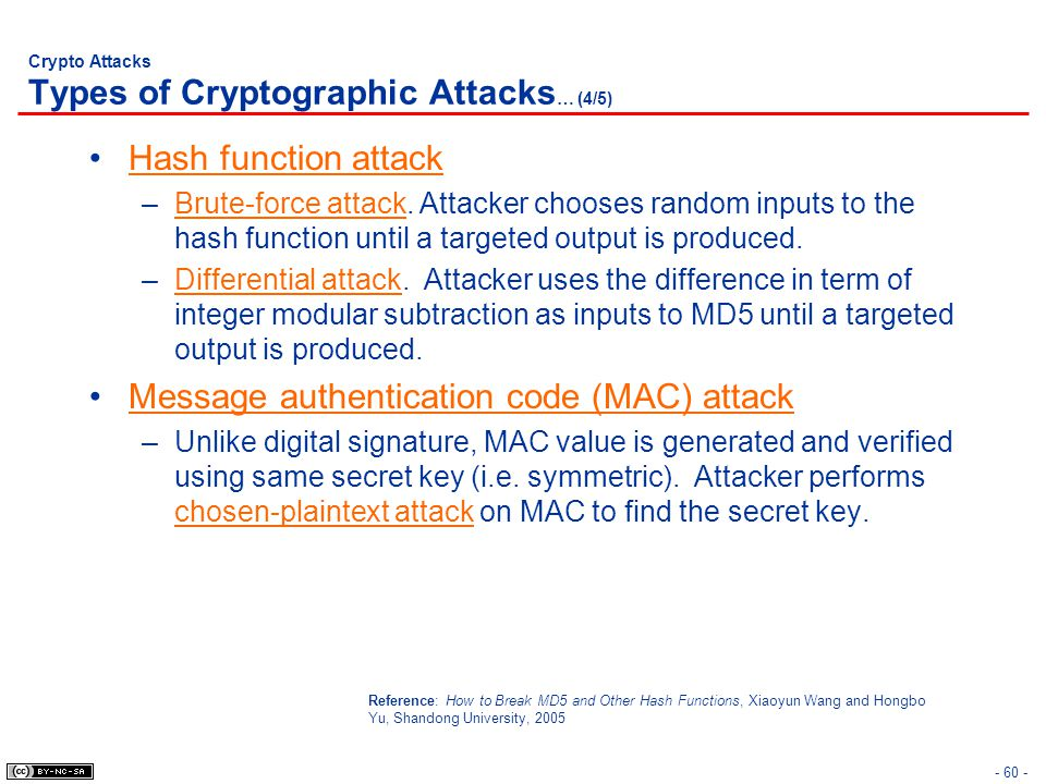 Crypto Attacks Types of Cryptographic Attacks … (4/5) Hash function attack –Brute-force attack. Attacker chooses random inputs to the hash function un