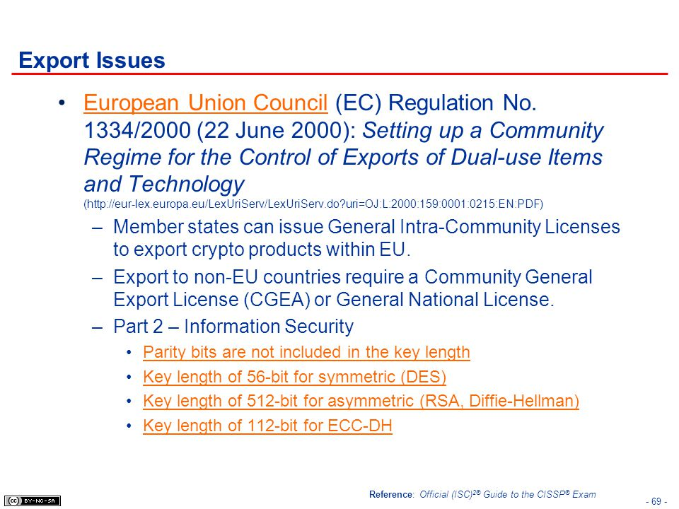- 69 - Export Issues European Union Council (EC) Regulation No. 1334/2000 (22 June 2000): Setting up a Community Regime for the Control of Exports of