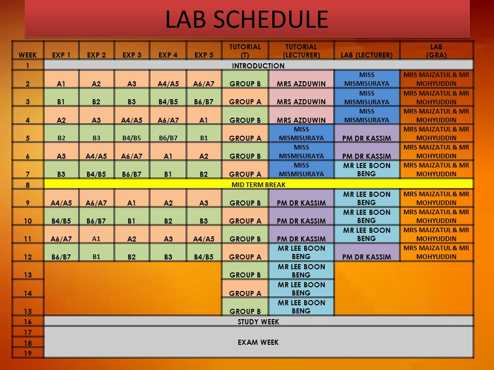 LAB SCHEDULE WEEKEXP 1EXP 2EXP 3EXP 4EXP 5 TUTORIAL (T) TUTORIAL (LECTURER)LAB (LECTURER) LAB (GRA) 1INTRODUCTION 2A1A2A3A4/A5A6/A7GROUP BMRS AZDUWIN