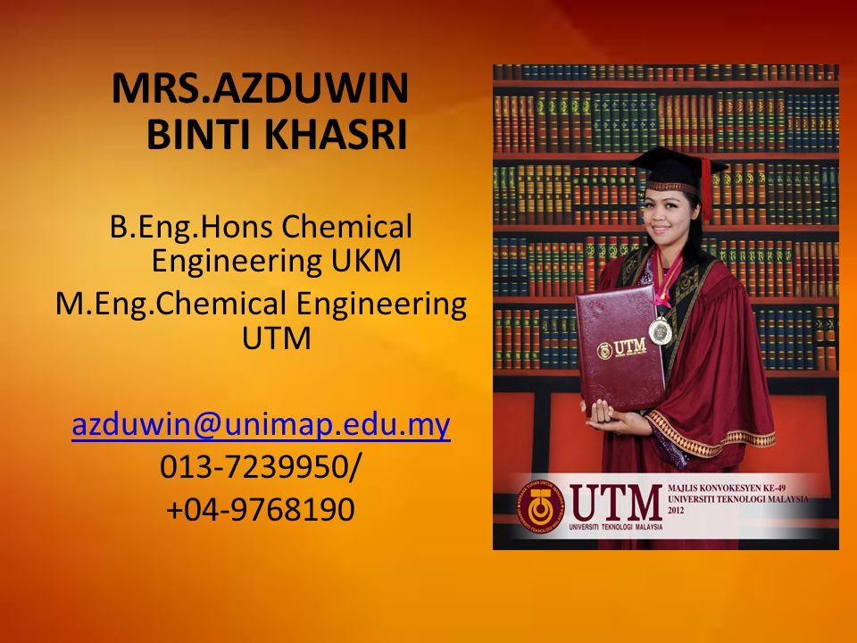 MRS.AZDUWIN BINTI KHASRI B.Eng.Hons Chemical Engineering UKM M.Eng.Chemical Engineering UTM azduwin@unimap.edu.my 013-7239950/ +04-9768190