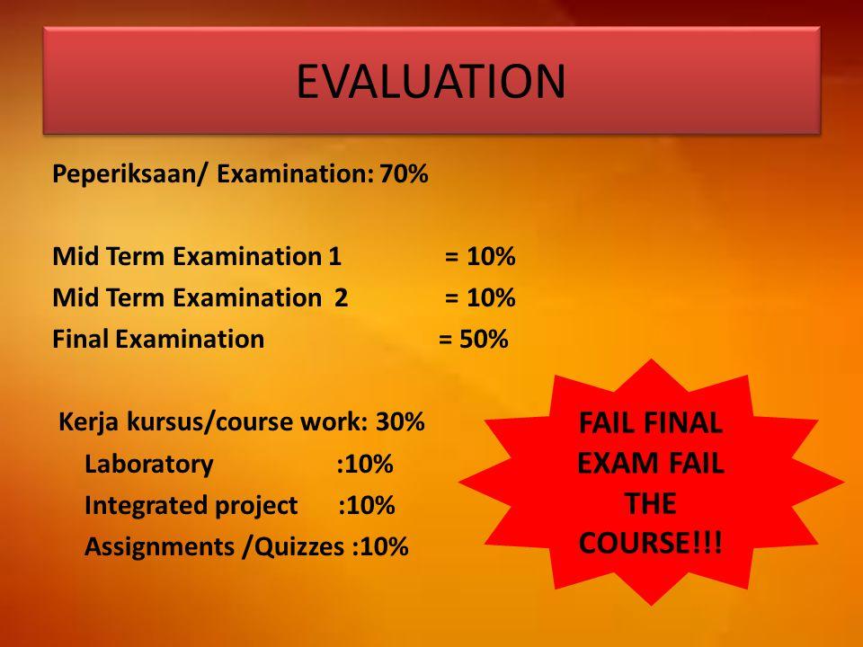EVALUATION Peperiksaan/ Examination: 70% Mid Term Examination 1 = 10% Mid Term Examination 2 = 10% Final Examination = 50% Kerja kursus/course work: 3