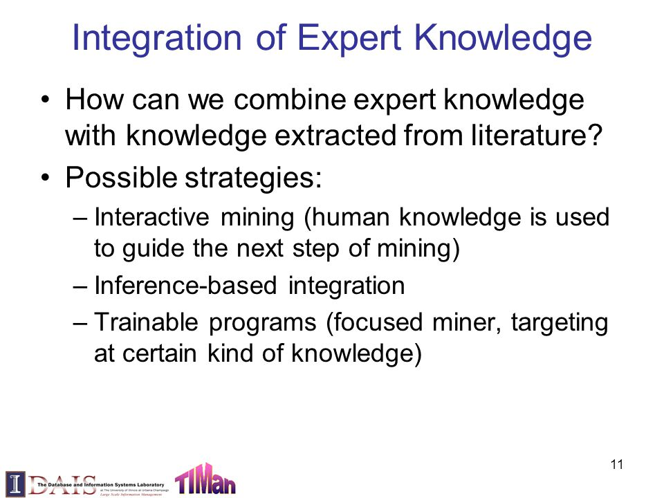 Integration of Expert Knowledge How can we combine expert knowledge with knowledge extracted from literature? Possible strategies: –Interactive mining