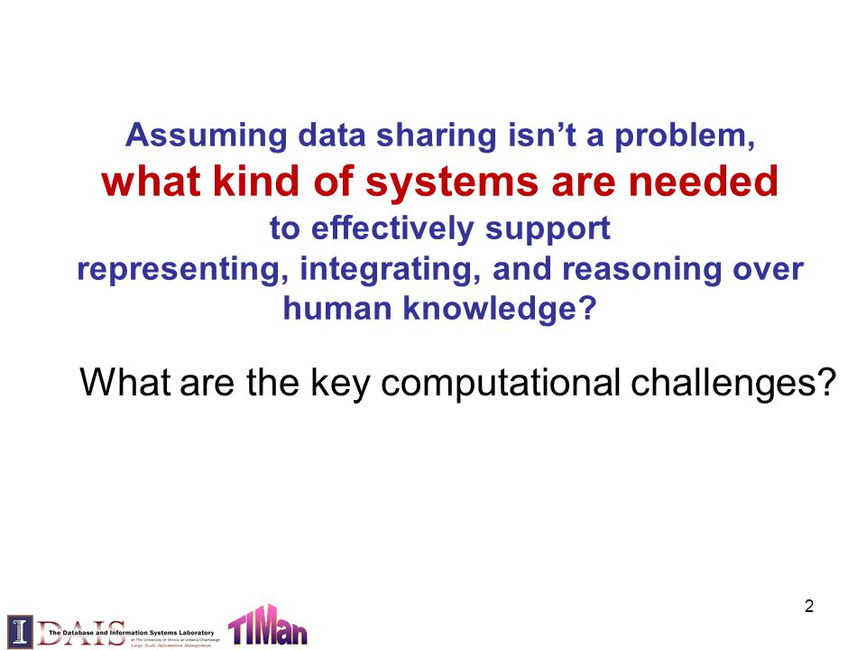 Assuming data sharing isn't a problem, what kind of systems are needed to effectively support representing, integrating, and reasoning over human know
