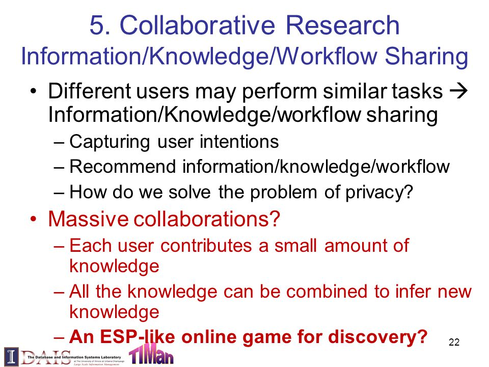 5. Collaborative Research Information/Knowledge/Workflow Sharing Different users may perform similar tasks  Information/Knowledge/workflow sharing –C