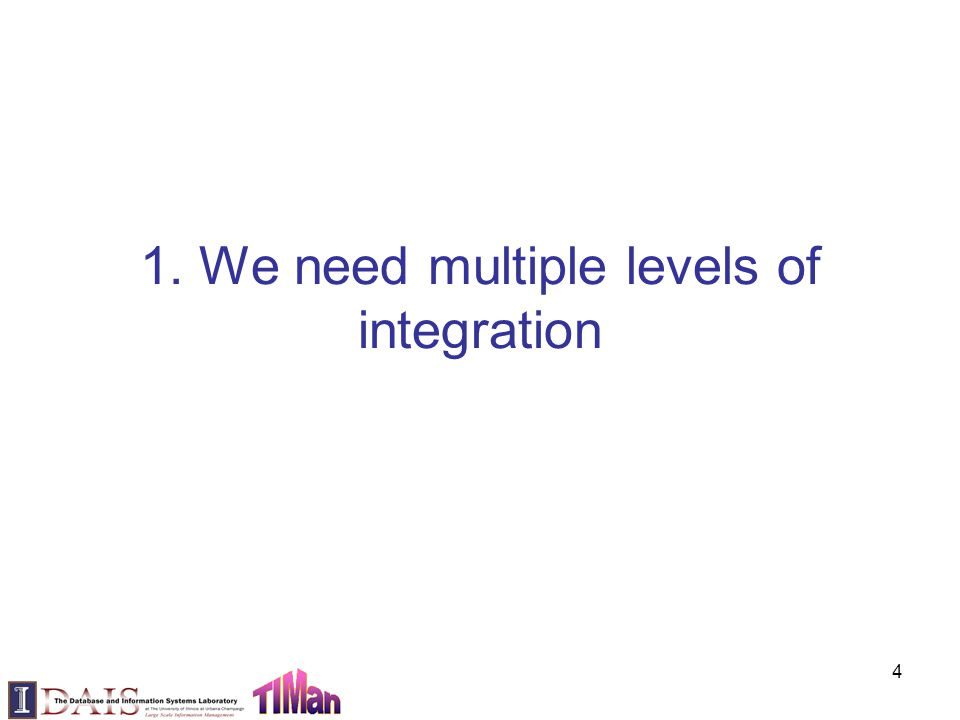 1. We need multiple levels of integration 4