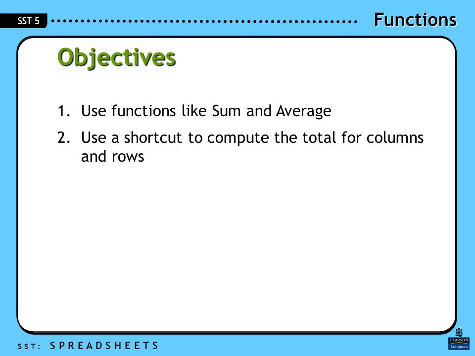Functions S S T : S P R E A D S H E E T S SST 5 Objectives 1.Use functions like Sum and Average 2.Use a shortcut to compute the total for columns and rows