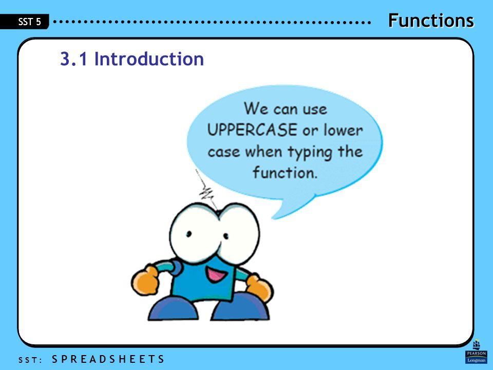 Functions S S T : S P R E A D S H E E T S SST 5 3.1 Introduction