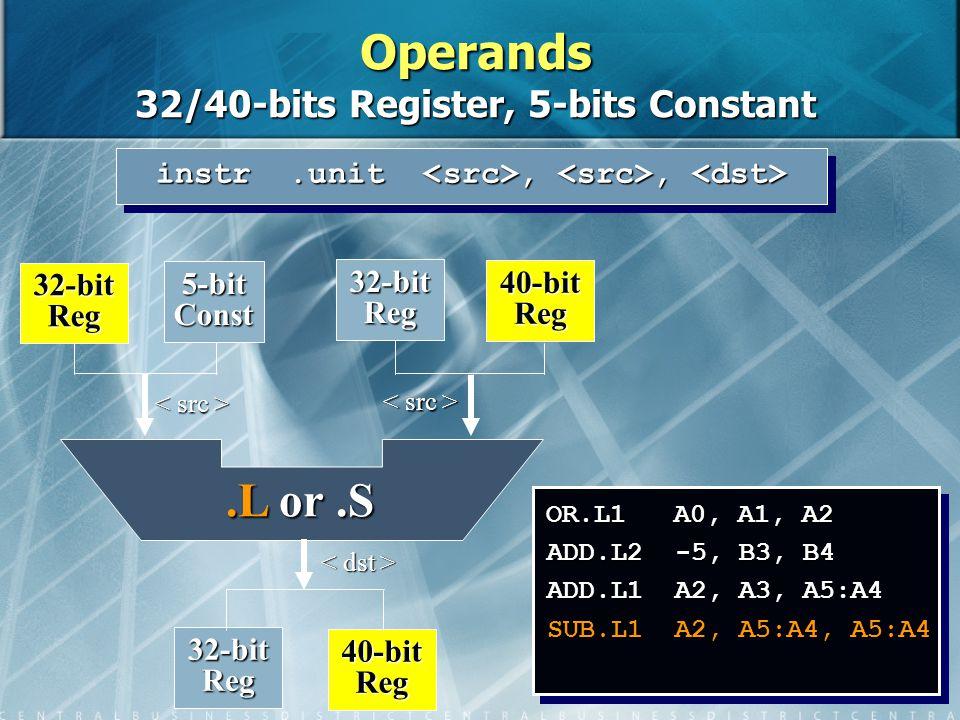 11 OR.L1 A0, A1, A2 ADD.L2 -5, B3, B4 ADD.L1 A2, A3, A5:A4 SUB.L1 A2, A5:A4, A5:A4 instr.unit,, instr.unit,, 32-bit Reg 40-bit Reg 32-bit Reg 5-bit Const 32-bit Reg 40-bit Reg.L or.S Operands 32/40-bits Register, 5-bits Constant