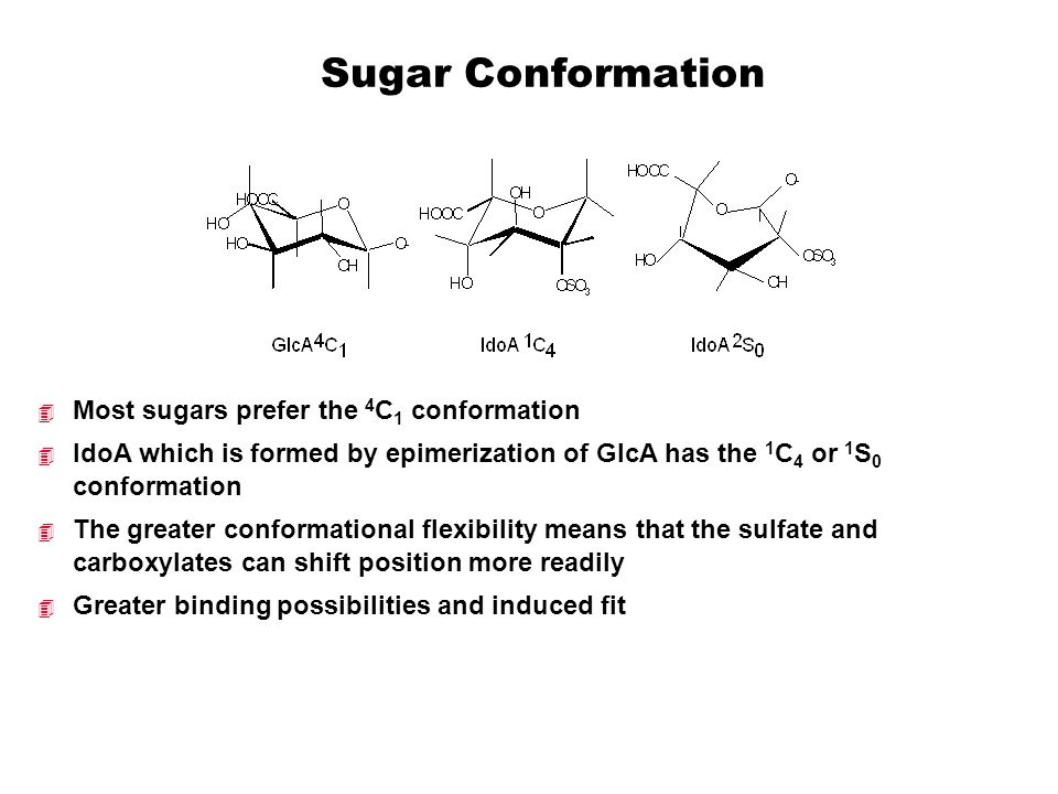 Sugar Conformation  Most sugars prefer the 4 C 1 conformation  IdoA which is formed by epimerization of GlcA has the 1 C 4 or 1 S 0 conformation  T