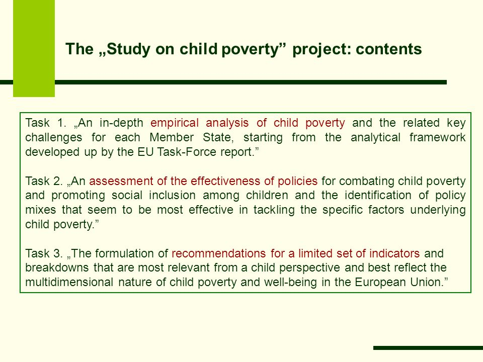 "The ""Study on child poverty project: contents Task 1."