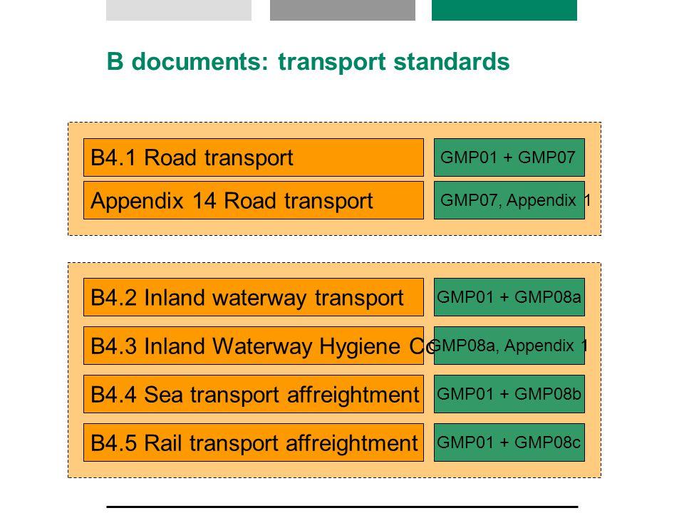B documents: transport standards B4.1 Road transport GMP01 + GMP07 Appendix 14 Road transport B4.2 Inland waterway transport B4.3 Inland Waterway Hygiene Code B4.4 Sea transport affreightment B4.5 Rail transport affreightment GMP07, Appendix 1 GMP08a, Appendix 1 GMP01 + GMP08a GMP01 + GMP08b GMP01 + GMP08c