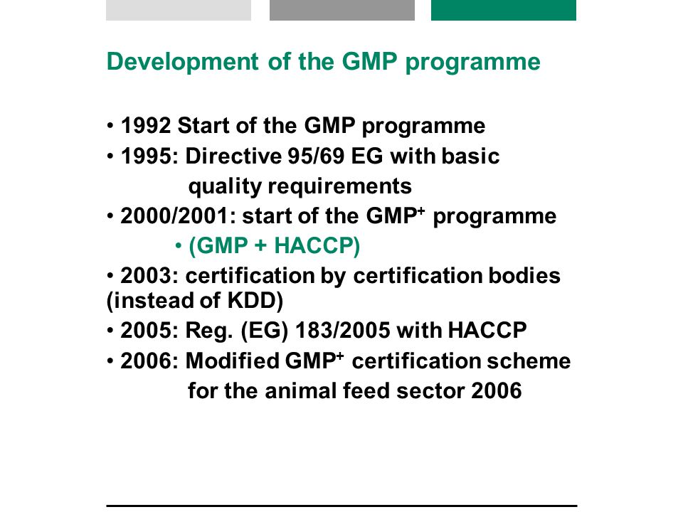 Development of GMP Road Transport 1999: Start of GMP road transport 2000: Certification by certification bodies 2000 - present day: Changes to load classification 2005: Reg.
