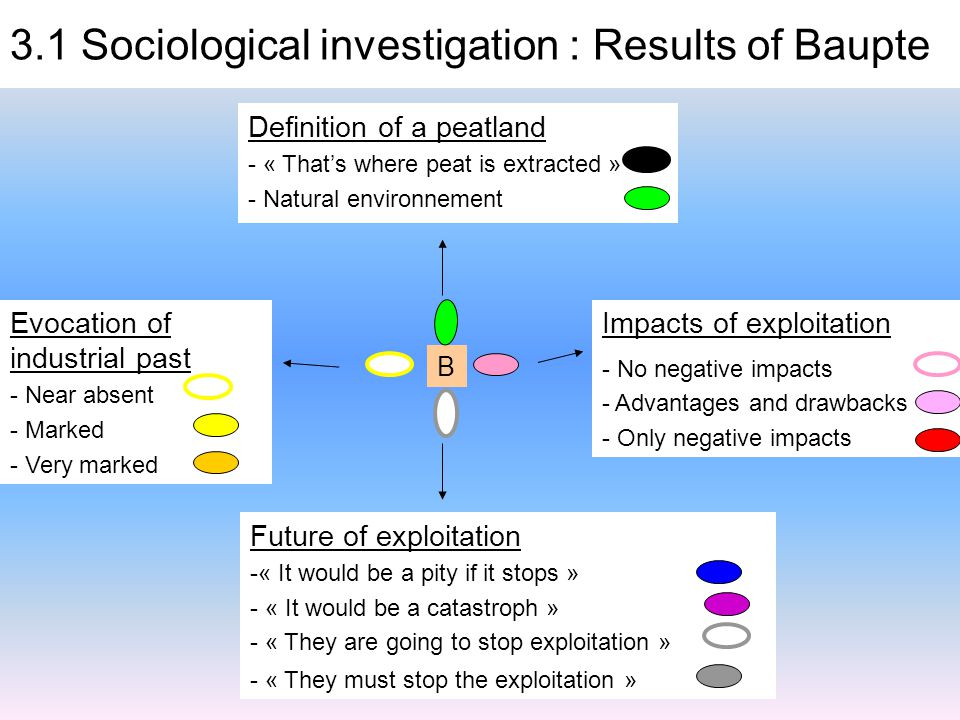 B Impacts of exploitation - No negative impacts - Advantages and drawbacks - Only negative impacts Future of exploitation -« It would be a pity if it stops » - « It would be a catastroph » - « They are going to stop exploitation » - « They must stop the exploitation » Evocation of industrial past - Near absent - Marked - Very marked Definition of a peatland - « That's where peat is extracted » - Natural environnement 3.1 Sociological investigation : Results of Baupte
