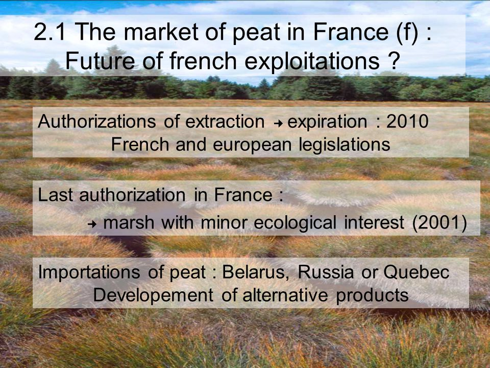 2.1 The market of peat in France (f) : Future of french exploitations .