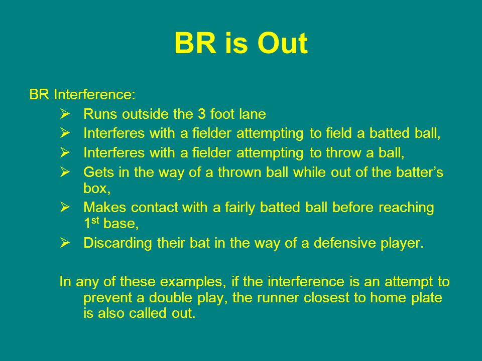 BR is Out BR Interference:  Runs outside the 3 foot lane  Interferes with a fielder attempting to field a batted ball,  Interferes with a fielder attempting to throw a ball,  Gets in the way of a thrown ball while out of the batter's box,  Makes contact with a fairly batted ball before reaching 1 st base,  Discarding their bat in the way of a defensive player.
