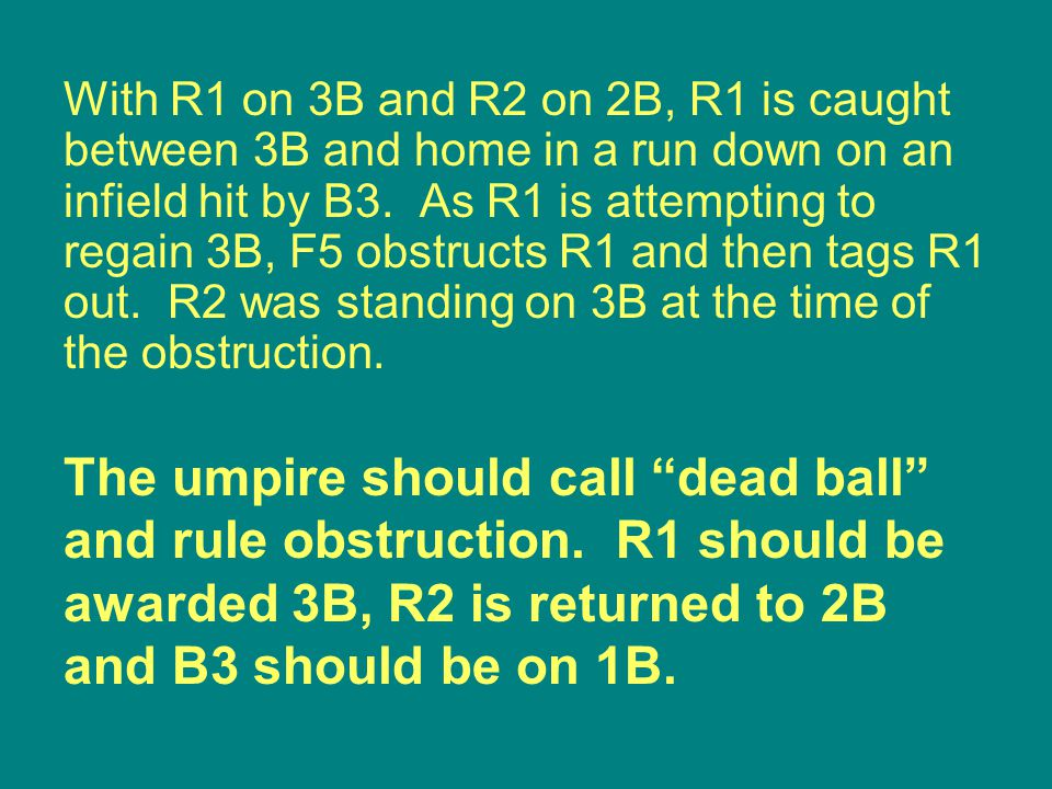 The umpire should call dead ball and rule obstruction.