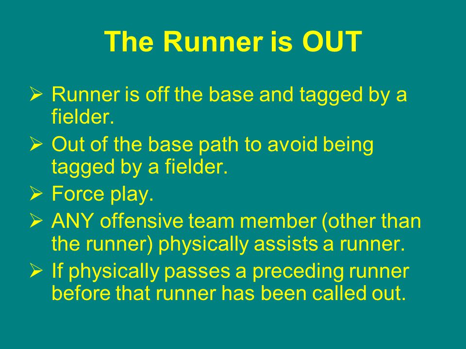 The Runner is OUT  Runner is off the base and tagged by a fielder.